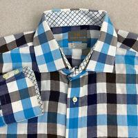 Thomas Dean Button Up Shirt Mens XL Blue Brown Long Sleeve Herringbone Plaid
