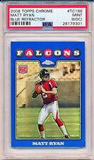 MATT RYAN 2008 TOPPS CHROME BLUE REFRACTOR ROOKIE RC #TC166 (FALCONS) PSA 9 (OC)