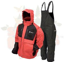 XL Frogg Toggs Red/Black Firebelly Jacket & Black Toadskin Bibs Rain Suit Gear