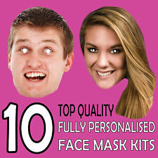 10 Personalised Photo Face Masks Ready to Wear Masks Stag Birthday Parties p