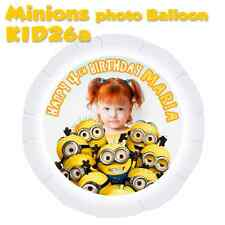 "MINIONS Personalised PHOTO BALLOON Large 22""(56cm) with Your Own Photo & Message"