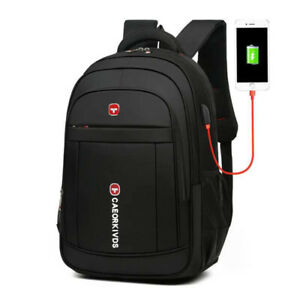 New Men Oxford School Black Backpack Laptop Students Notebook Zipper Travel Bag