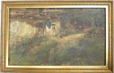 Carlo PIZZI (Lecco 1842-1908) Scena rurale con contadine e macina OLIO cm 35x58