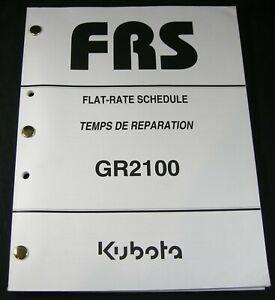 Kubota GR2100 Tractor Mower Flat Rate Schedule for Service Repair Time Manual