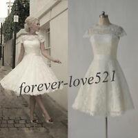 New White/Ivory Tea Length Short Lace Bridal Gown Wedding Dress 6-8-10-12-14-16