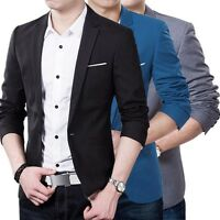 Men Casual Slim Fit Formal One Button Suit Blazer Coat Jacket Tops Stylish Cool