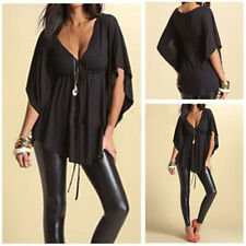 Womens Sexy V-neck Batwing Short Sleeve Tops Blouse T-shirt  Plus Size