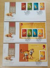 Hong Kong 2010 Zodiac Year of the Tiger, 4v Stamps MS & imperf MS, set of 3 FDC