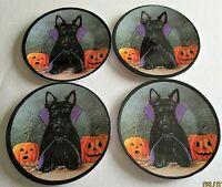 "Halloween Scotty Dog Dracula Melamine Tidbit Candy Side Plates 6"" Set of 4"