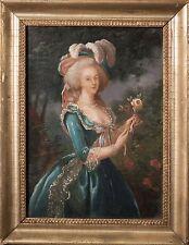 Marie-Antoinette with a Rose Original Antique Oil Painting aft. Louise Le-Brun