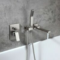 Brushed Nickel Wall Mounted Bath Filler Mixer Tap with Handh Shower One Handle