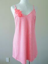 Betsey Johnson Slinky Knit Chemise Night Gown Neon Coral Stripe Medium NWT