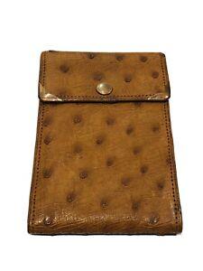 Vintage Brown Ostrich 14K Gold Corners Mini Travel Bifold Photo Album