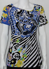 NEW ECI Size SMALL Short Sleeve Asymmetrical Neckline Printed Top COBALT/BLACK