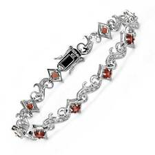 Lovely  Bracelet With 5.49ctw Cubic zirconia and Garnet in 925 Sterling Silver