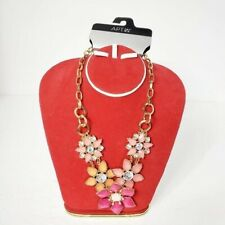 Kohl's Apt 9 floral gold tone chain link necklace NWT