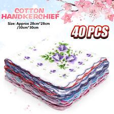 20Pcs Lot Ladies Women Vintage Cotton Quadrate Hankies Floral Handkerchief Decor