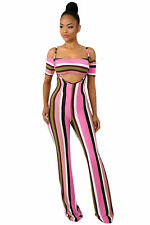 Womens Clubwear Crop Tops Suspenders Pants 2PCS Set Bodycon Dress Stripe Bodycon