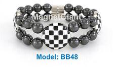 Black & White - Double high power magnetic black hematite beaded bracelet