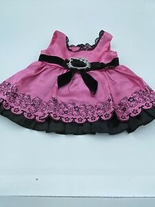 Build a Bear Hello Kitty Pink Satin Party Dress Black Velvet Bow Sequin Belt