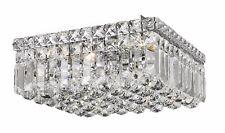 "4-Light 12"" x 5.5"" CASCADE Square Shape Clear Crystal Flush Mount Ceiling Light"