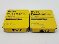 Lot of 10 Buss MDV2 Fuses 125V 2 Amp Pigtail Axial Slow Blow Bussman