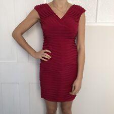 Adrianna Papell Women Dress Size 8 Red Bandage Wrap Mini V Neck Sleeveless Wiggl