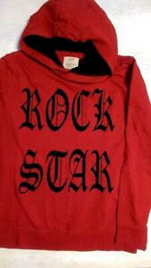 roter Hoodie, Kapuzen-Sweatshirt von ZARA, Gr. 152 Aufdruck:ROCK STAR,Baumwolle,