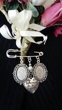Ivory Bride/Groom Handmade Wedding Buttonhole, Bouquet, Lapel, Cameo Memory Pin