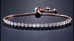 Rose Gold Adjustable Bangle Bracelet With Cubic Zirconia White Round Cut Crystal