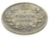1897 Canada Five Cents Small Silver Canadian Circulated Victoria Coin M848