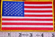 "10 Pieces Usa American flag patch Jumbo 3""x5"" Embroidered W/Gold Border"