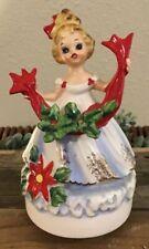 Vintage Josef Originals Christmas Girl With Ribbon & Holly Music Box Figurine Ec