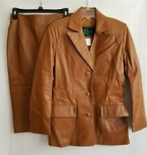 DC Collection Womens Leather Skirt Suit Caramel Leather 2 Pc Jacket S Skirt 4