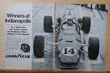 1967 two page magazine ad for Goodyear, A.J. Foyt sets track record, Coyote Ford