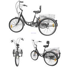 """6 Velocità di 24 """"3 ruote adulti bicicletta Triciclo Trike Bike +schienale+cesto"""