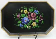 Nashco Products New York Hand-Painted Floral Tole Tray Signed By Artist