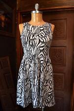 H&M Womens Round Neck Sleeveless Animal Print Black & White Sheath Dress SMALL