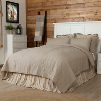 VHC Sawyer Mill Charcoal Ticking Stripe Quilt (Your Choice Size & Accessories)