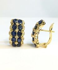 14k Solid Yellow Gold 2Rows Omega Back Diamond 0.70CT Earrings, Natural Sapphire