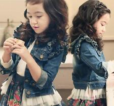 Girls Kids Ruffle Tulle Jean Jacket Coat Denim Tops Cowboy Outwear Clothes 3-11Y