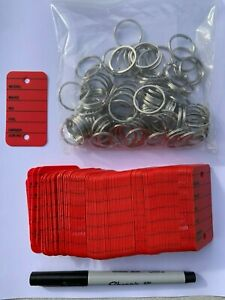 100 Car Key Tags - Red - Strong ring/Sharpie Ultra Fine Pen