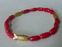 Koralle Perle Stretch Armband mit Fisch gold rot 7088