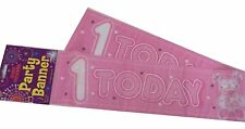 Fun House HAPPY 1st BIRTHDAY 1 Today Pink Plastic Banner Party Decoration 12 Ft