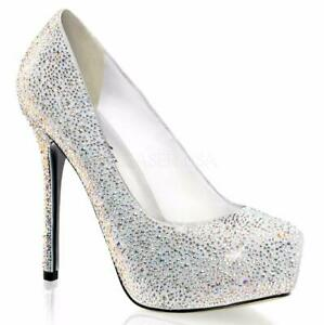 *** Pleaser Prestige-20 white suede platform stiletto heels pumps rhinestones 9