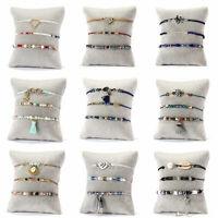 Boho Women Shell Pearl Beads Natural Stone Tassel Crystal Bracelet Gift 3Pcs/set