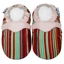 First Walking Crib Shoe Soft Sole Leather Baby Infant Kid Crib StripePink 24-30M