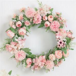 40Cm Artificial Rose Wreath Floral Home Decor Door Spring Summer Garden Wreath