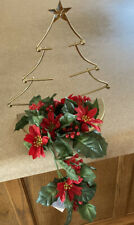 HomeCo Christmas Tree Candle Holders w/Poinsettia Candle Ring - Set of 2 - 4pcs