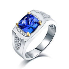 14K Solid White Gold Natural Tanzanite Diamond Gemstone Men's Ring Jewelry